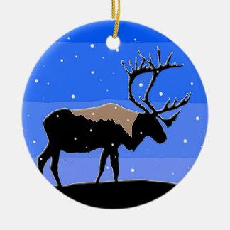 Caribou in Winter Ceramic Ornament