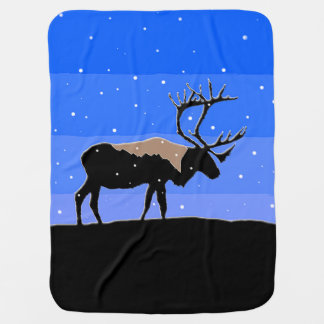 Caribou in Winter  - Original Wildlife Art Baby Blanket