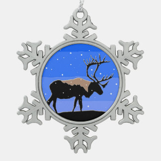 Caribou in Winter Snowflake Pewter Christmas Ornament