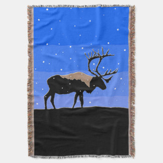 Caribou in Winter Throw Blanket
