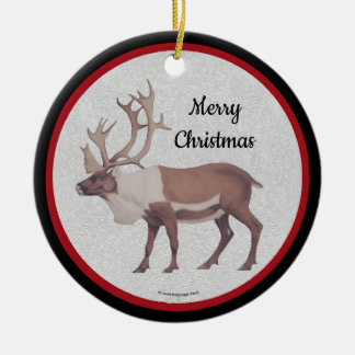 Caribou Reindeer Red Black Border Ceramic Ornament
