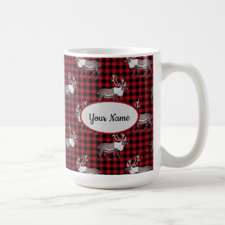 Caribou Reindeer Red Black Plaid Coffee Mug