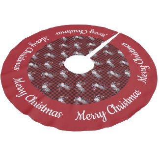Caribou Reindeer Red Black Plaid Red Border Brushed Polyester Tree Skirt