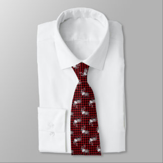 Caribou Reindeer Red Black Plaid Tie