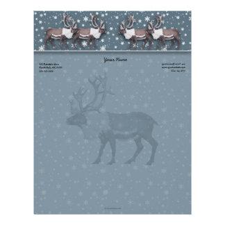 Caribou Reindeer Snowflakes on Blue Border Letterhead