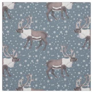 Caribou Reindeer Snowflakes on Blue Fabric