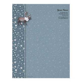 Caribou Reindeer Snowflakes on Blue Letterhead
