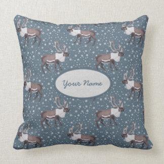 Caribou Reindeer Snowflakes on Blue Throw Pillow