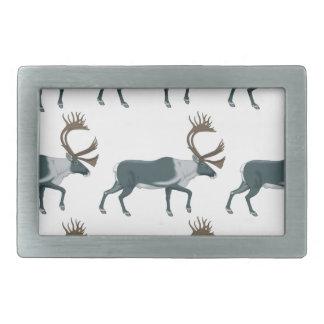 Caribou rows rectangular belt buckle