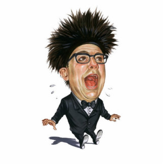 Caricature- man in black suit -scream photo sculpture