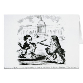 Caricature of Delacroix and Ingres Card