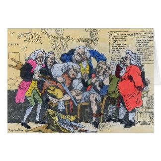 Caricature of Georgian Surgeons at work, 1793 Card