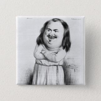 Caricature of Honore de Balzac 2 Inch Square Button