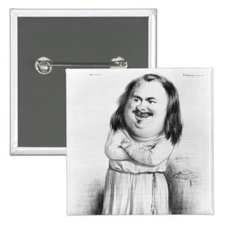 Caricature of Honore de Balzac 2 Inch Square Button