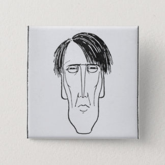 Caricature of W.B. Yeats, 1898 2 Inch Square Button