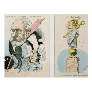 Caricatures of Victor Hugo  and Napoleon III Postcard