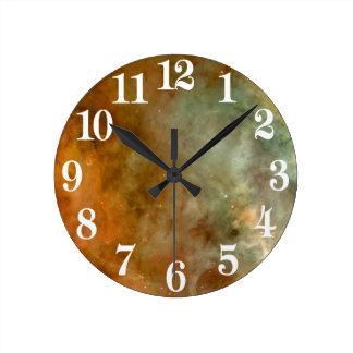 Carina Nebula Marble Look NASA Round Clock
