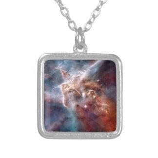 Carina nebula silver plated necklace
