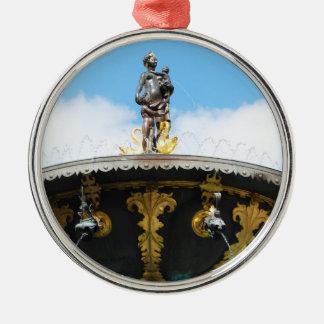 Caritas Well Fountain - Copenhagen, Denmark Silver-Colored Round Ornament