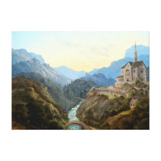 Carl Gustav Carus Mountain Landscape River Abbey Canvas Print