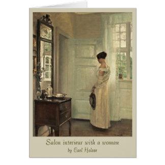 Carl Holsøe Salon interieur with woman CC0573 Card