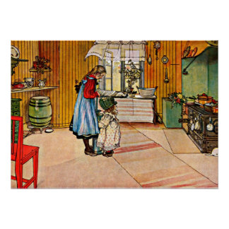 Carl Larsson art: The Kitchen Poster