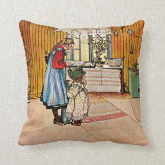Carl Larsson art: The Kitchen Throw Pillow