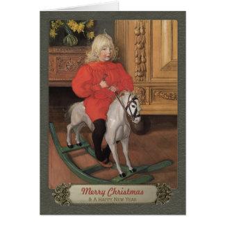 Carl Larsson Boy on rocking horse CC0078 Christmas Card