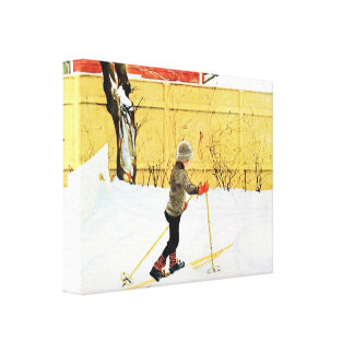 Carl Larsson Boy Skiing at the Falun Home Gallery Wrap Canvas