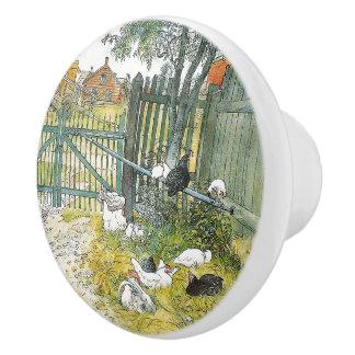 Carl Larsson Chickens Rabbit Barnyard Animals Knob
