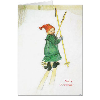 Carl Larsson Christmas Esbjorn on Skis Card