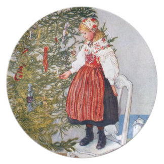 Carl Larsson Christmas Tree Festive Holiday Plates