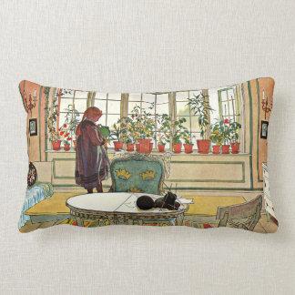 Carl Larsson - Flowers on the Windowsill Lumbar Pillow