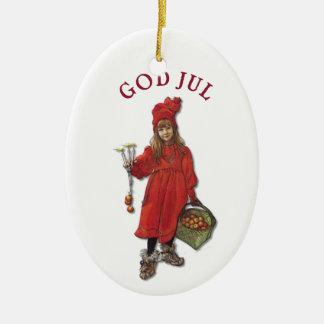 Carl Larsson God Jul with Brita - Merry Christmas Ceramic Oval Ornament