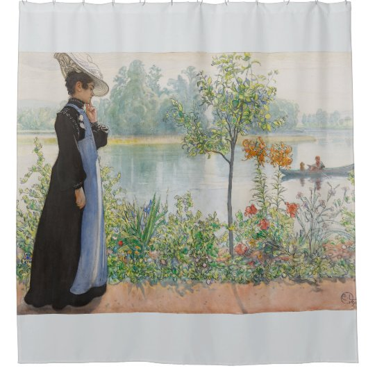 Carl Larsson Karin Lake Boat Floral Shower Curtain