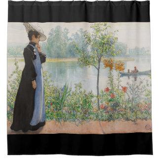 Carl Larsson Karin Lake Boat Floral Shower Curtain