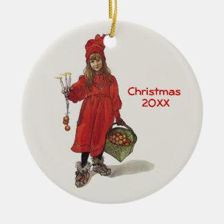 Carl Larsson Little Swedish Girl Custom Dated Ceramic Ornament