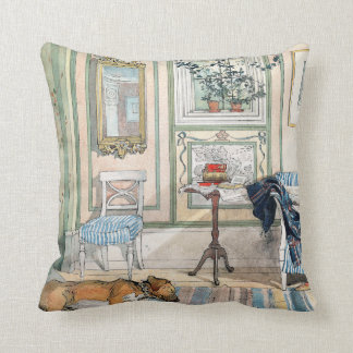 Carl Larsson  Living Room Dog Home Throw Pillow