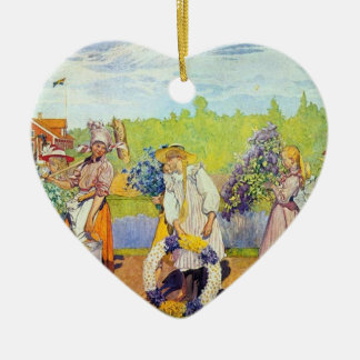 Carl Larsson  Outside Summer Winds Are Blowing Ceramic Heart Ornament
