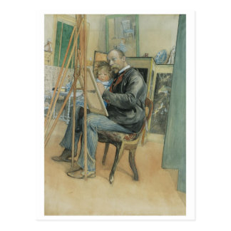 Carl Larsson Painting with His Daughter Postcard