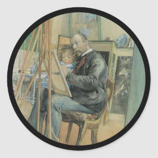 Carl Larsson Painting with His Daughter Round Sticker