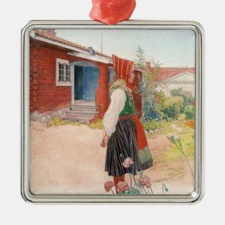 Carl Larsson  The Falun Home Silver-Colored Square Ornament