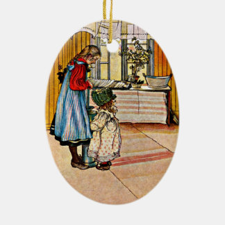 Carl Larsson - The Kitchen Ceramic Oval Ornament