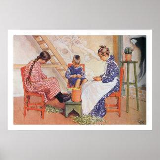 Carl Larsson They Shelled Peas Fine Art Print