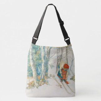 Carl Larsson Winter Snow Girl Skiing Tote Bag