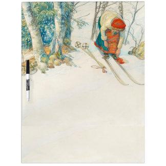 Carl Larsson Winter Snow Girl Skis Dry Erase Board