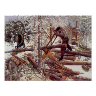 Carl Larsson Woodcutters in the Forest Poster