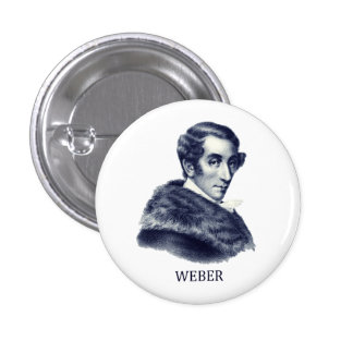 Carl Maria von Weber, blue 1 Inch Round Button