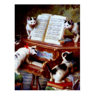 Carl Reichert Kittens Playing Piano Postcard