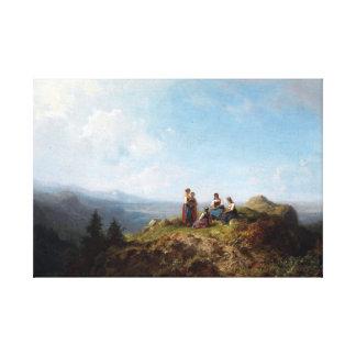 Carl Spitzweg Girls on a Pasture Canvas Print